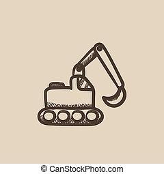 Excavator sketch icon.