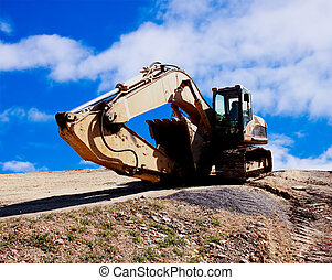 Excavator sleeping - Excavator on construction site sleeping...