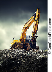 Excavator - EXcavator machine on construction site during...