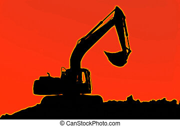 excavator - Excavator standing in a ground with raised...