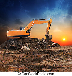 Excavator working at construction site