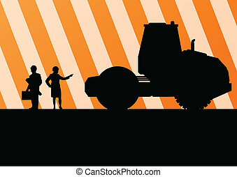 Excavator tractors detailed silhouettes illustration in...