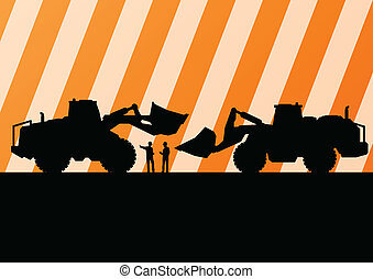 Excavator tractors detailed silhouettes illustration in construction site mining background vector