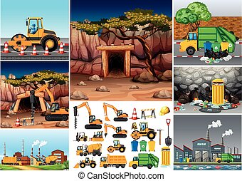 Excavator tractors working in different sites
