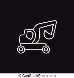 Excavator truck sketch icon.