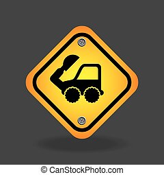 excavator truck yellow road street sign