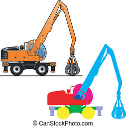 excavator - Vector color illustration of wheel dipper. (...