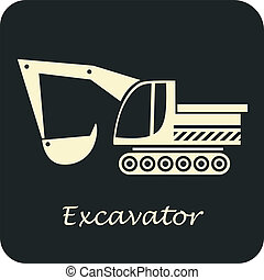 Excavator - vector icon. Construction Equipment.