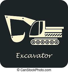 Excavator - vector icon. Construction Equipment.