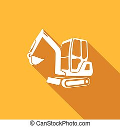 Excavator vector icon - Excavator Vector Isolated Flat Icon...