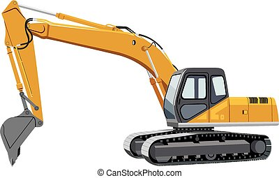 Excavator - Vector image of a yellow excavator caterpillar ...