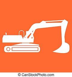Excavator white color icon .
