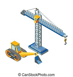 Excavator with bucket, lifting crane industrial construction isolated icons vector. Working machinery, bulldozer excavation works and lifting items