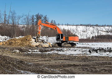 Excavator with fang-ripper