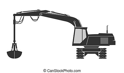 Excavator with grab bucket isolated on background