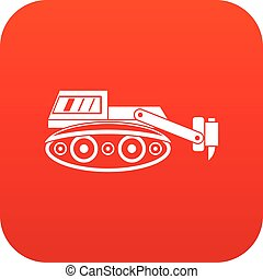 Excavator with hydraulic hammer icon digital red
