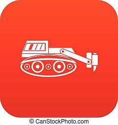 Excavator with hydraulic hammer icon digital red