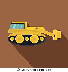 Excavator with hydraulic hammer icon, flat style