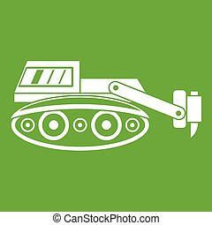 Excavator with hydraulic hammer icon green
