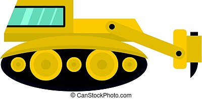 Excavator with hydraulic hammer icon isolated