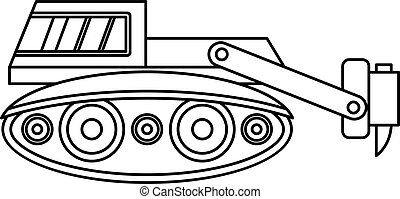 Excavator with hydraulic hammer icon outline