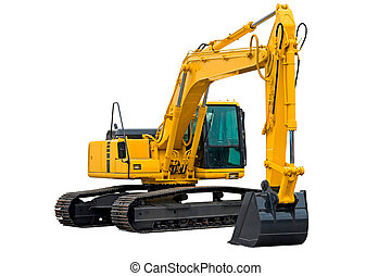Excavator with Long Arm - Excavator painted in yellow...