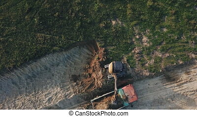 excavator work from height - excavator work from a bird's...
