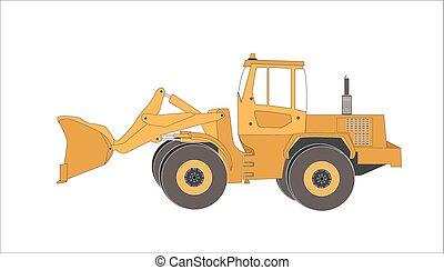 Excavator work. Isolated