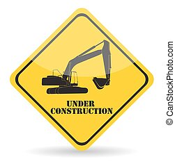 Excavator Work Under Construction. Vector Illustration