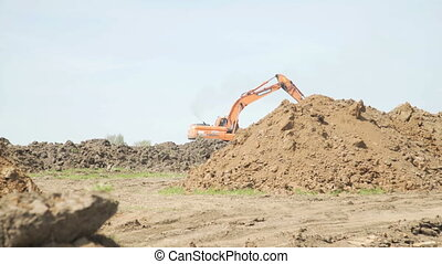 Excavator working on construction site. Construction...