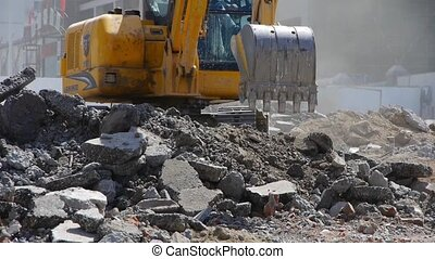 Excavator working on construction
