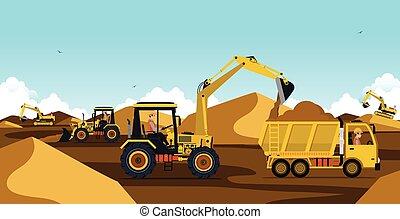 Excavators are working