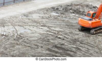 excavators at construction time lapse