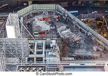 Excavators on construction site.