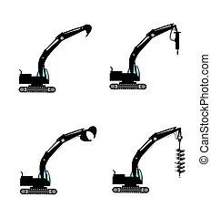 excavators with attachments - excavators with various...