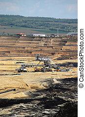 excavators working on open pit coal mine