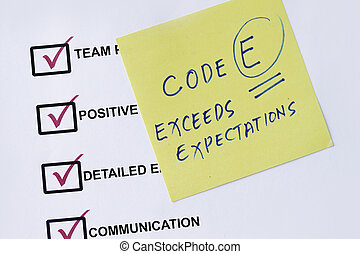 Exceed expectation checklist with evaluation remarks and sticky notes.