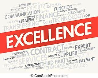 excelência, palavra, nuvem