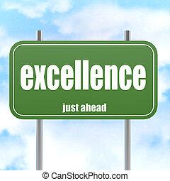 excelência, palavra, verde, sinal estrada