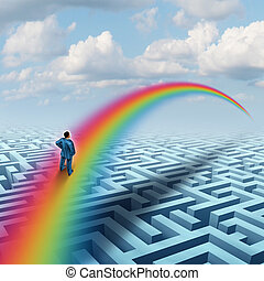 Excel concept as a creative solution to a challenge as a businessman crossing a complicated maze or labyrinth with a bridge made from a rainbow as a success metaphor for visualizing a future accomplishment or virtual reality.
