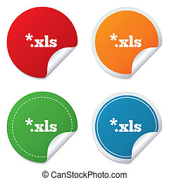 Excel file document icon. Download xls button. XLS file extension symbol. Round stickers. Circle labels with shadows. Curved corner. Vector