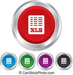 Excel file document icon. Download xls button. XLS file symbol. Round metallic buttons. Vector