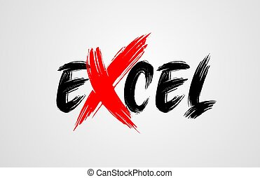 excel grunge brush stroke word text for typography icon logo...