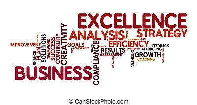 excelencia, palabra, nube, empresa / negocio