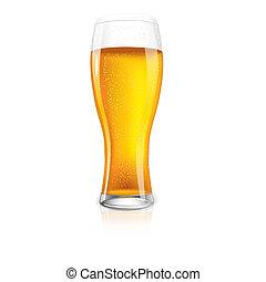 excelente, isolado, vidro cerveja, com, drops.