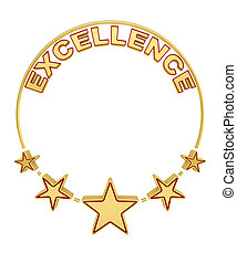 Excellence award with five stars over white background