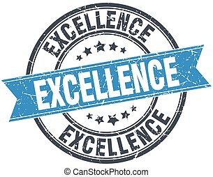 excellence blue round grunge vintage ribbon stamp
