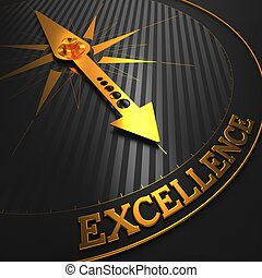 """Excellence - Business Background. Golden Compass Needle on a Black Field Pointing to the Word """"Excellence"""". 3D Render."""