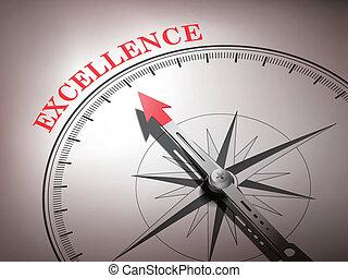excellence, compas, résumé, aiguille, pointage, mot