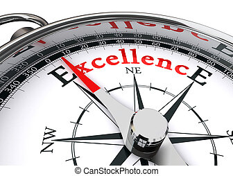 excellence conceptual compass on white background